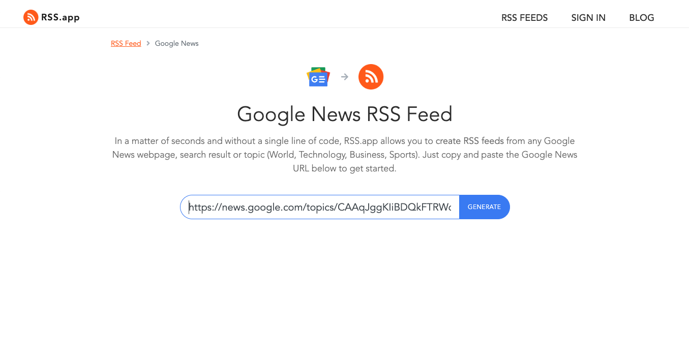 Generate Google News RSS feeds